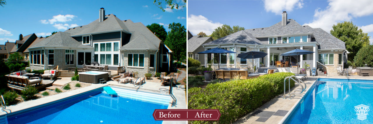 pool remodel before and after