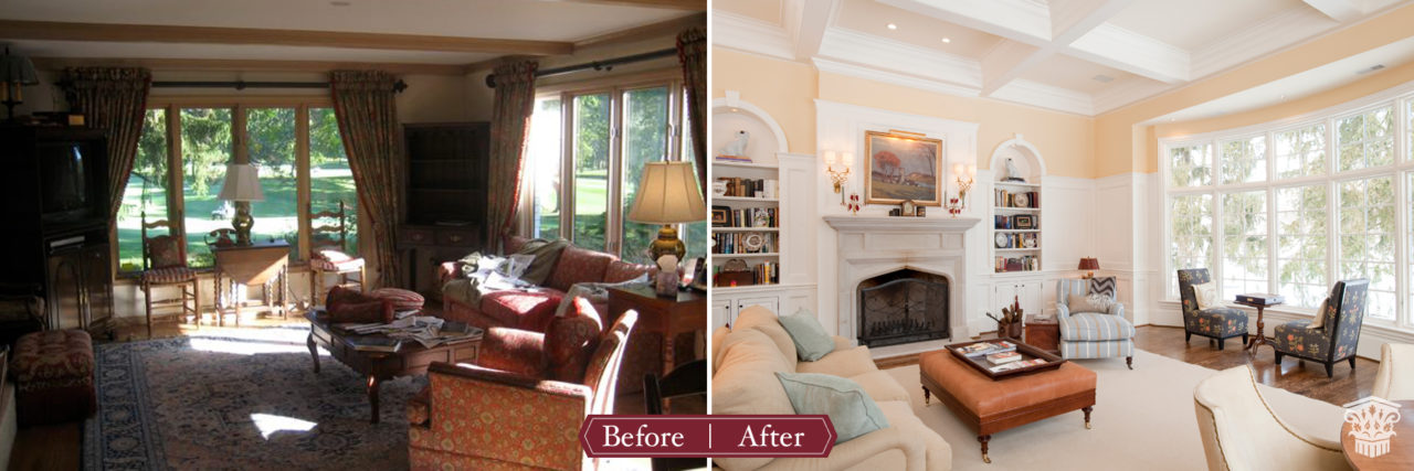 Golf Course Before After Family Room