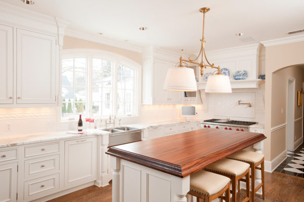 Golf Course Remodel Kitchen White Cabinetry Marble Countertops White Countertops Custom Kitchen Island