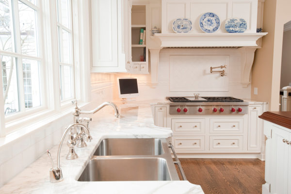 Golf Course Remodel Kitchen White Cabinetry Marble Countertops White Countertops