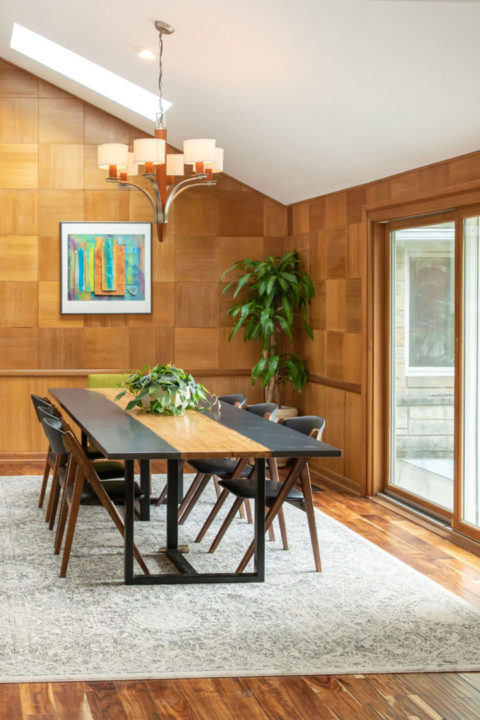 Mid-Century Modern Dining Room with Sky Lights