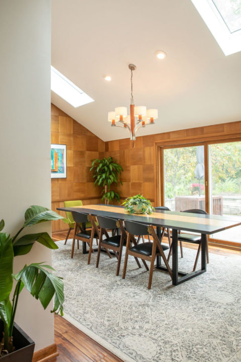 Mid-Century Modern Dining Area with Sklights