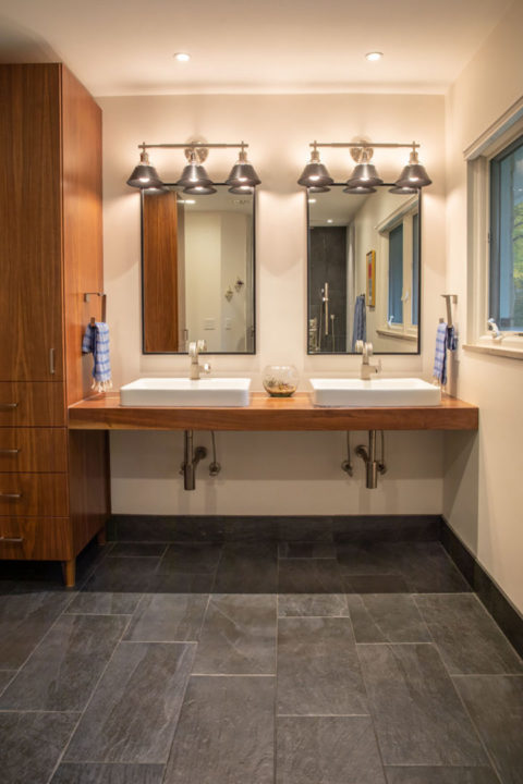 Mid-Century Modern Master Bathroom Double Vanity ADA