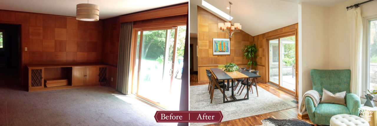 Before and after dining room with skylights