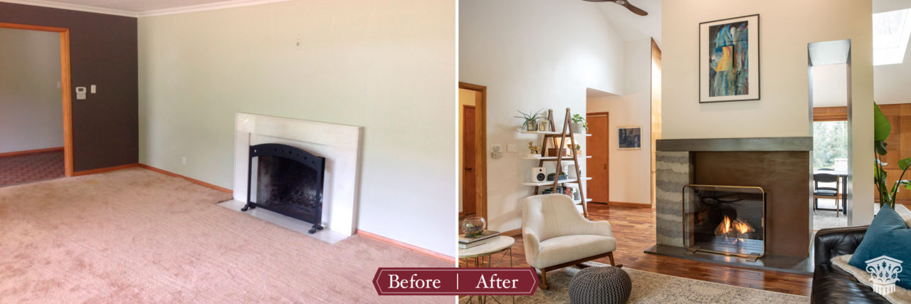 Before and after family room, mid-century modern