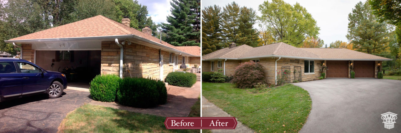 Before and after exterior mid-century modern garage