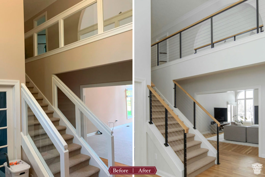 Contemporary First Floor Stairs Before and After