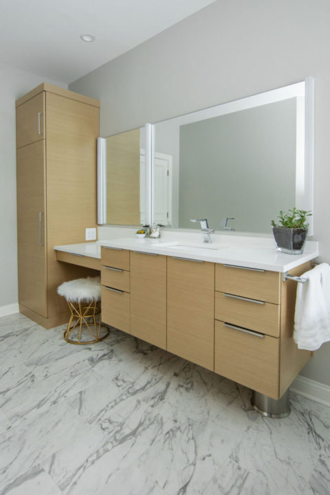 Contemporary Master Bath Vanity Storage
