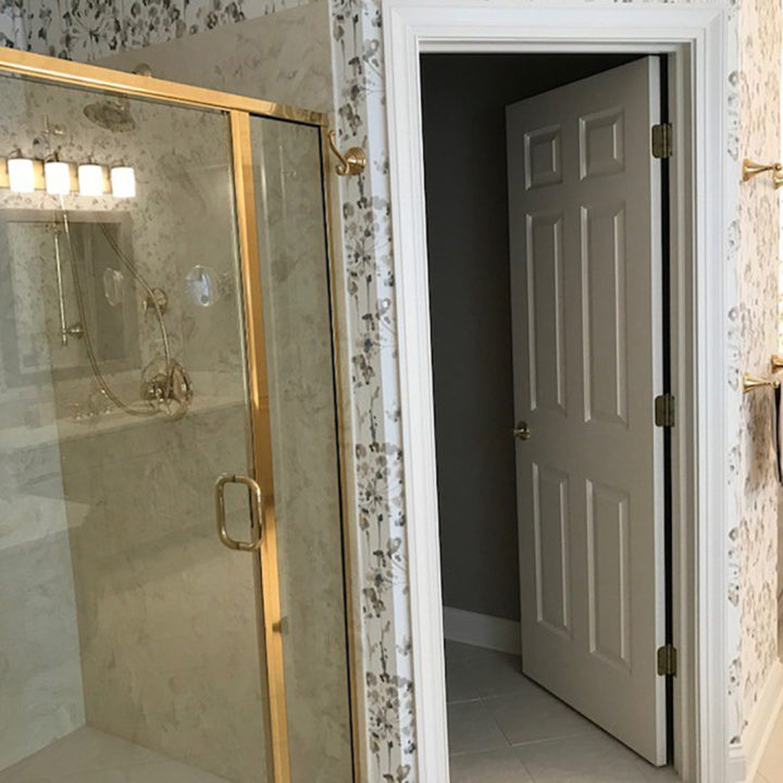 bathroom refresh, bath update, master bath, shower, floral wallpaper