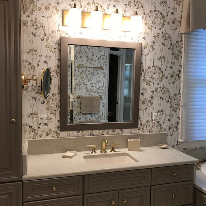 bathroom refresh, bath update, master bath, Caesarstone, floral wallpaper