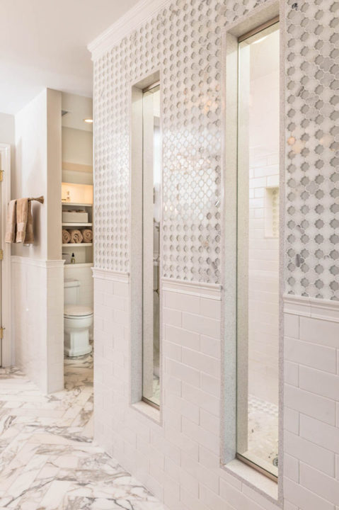 custom shower tile, stool room, calcatta marble tile, glass tile