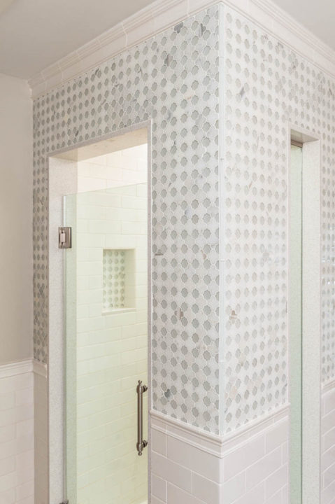 custom shower tile, calcatta marble tile, glass tile