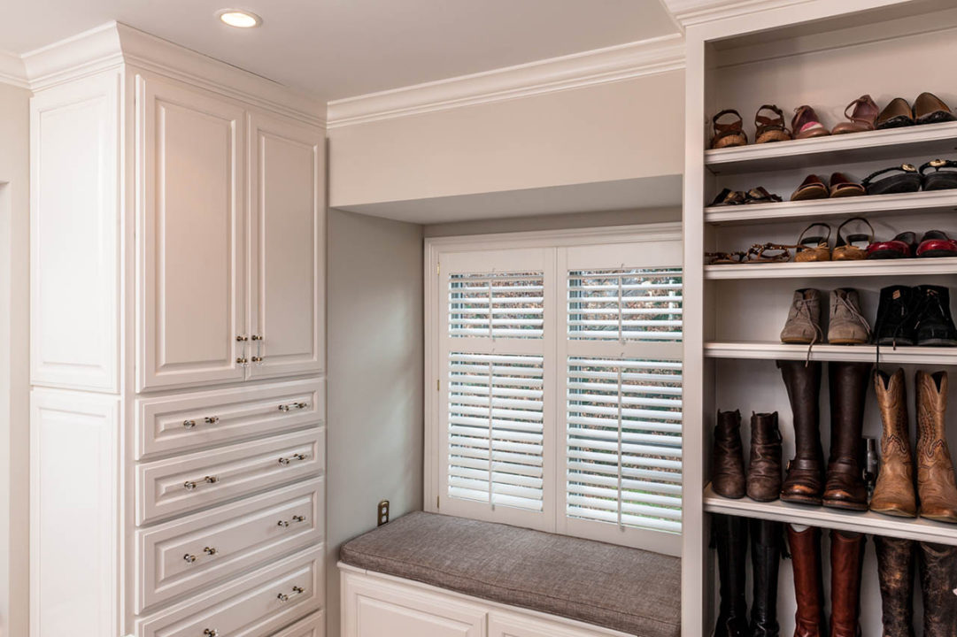 window seat, large walk-in closet, built-in dresser storage