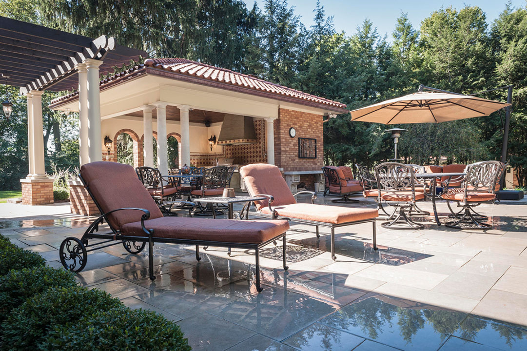 Tuscan style cabana, red clay terracotta shingles, terracotta clay roof, red clay roof, limestone pavers, copper gutters and spouts, limestone columns with brick pedestal, pergola