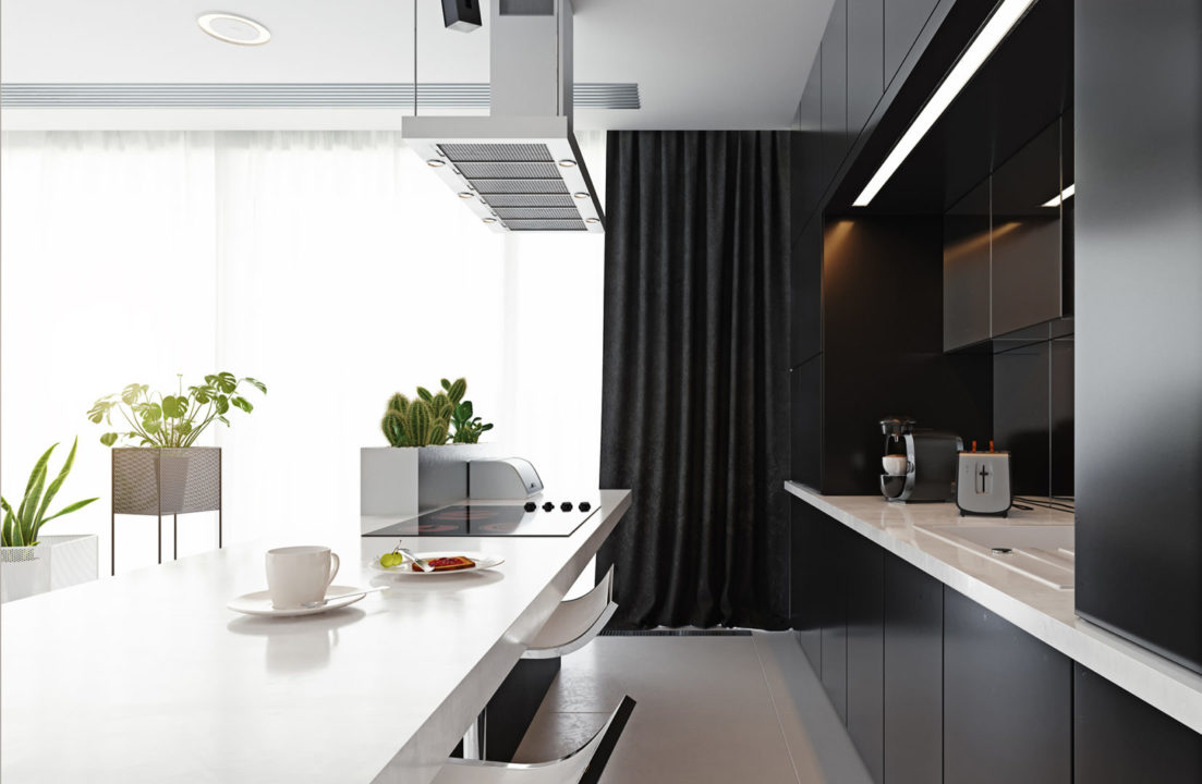 kitchen, black cabinets, white countertop