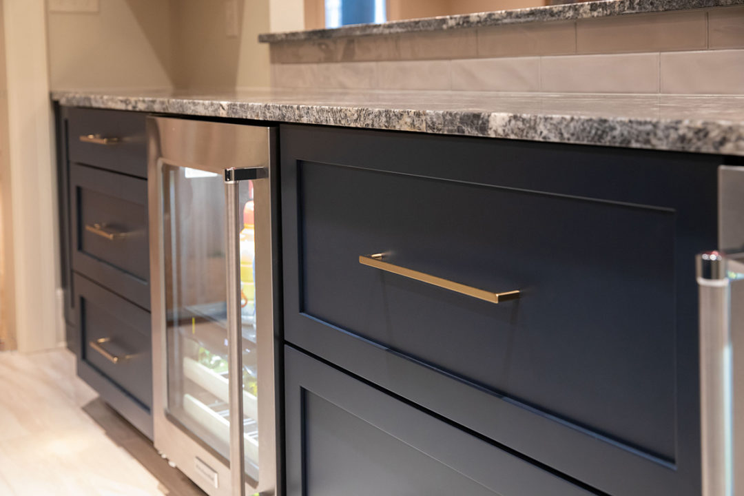 shaker style cabinets, glass front bar refrigerator