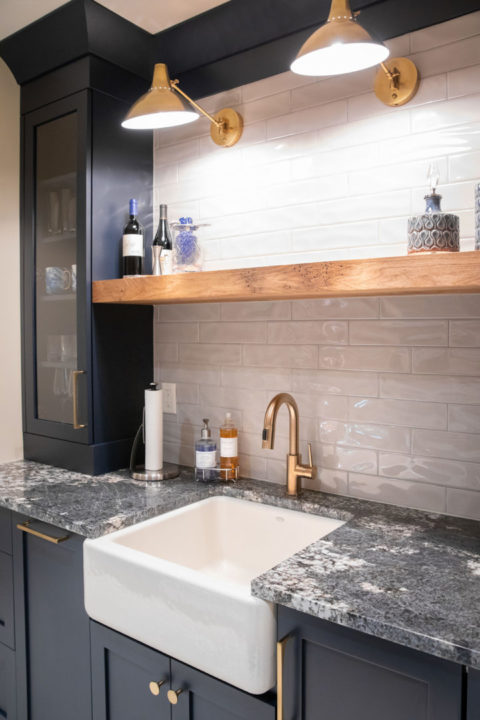 countertops, upper bar area, library lights, floating wood shelves, farmhouse sink