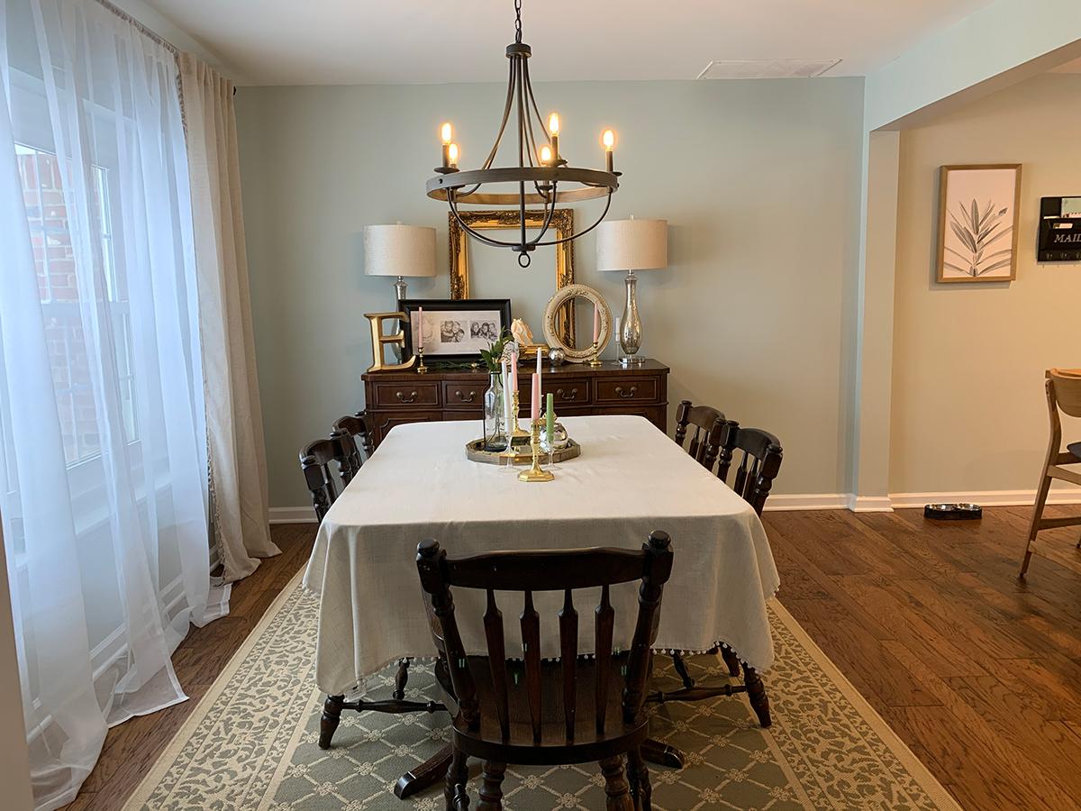 engineered floor, open dining room and kitchen