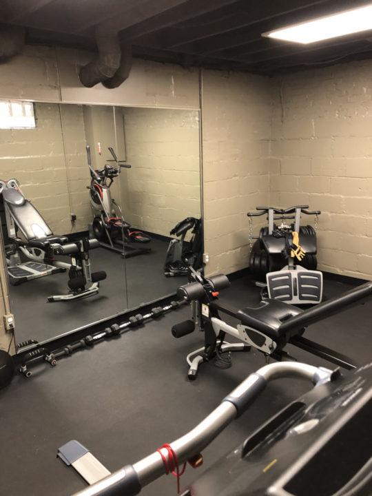basement renovation, rubber floors, exercise room, basement exercise space