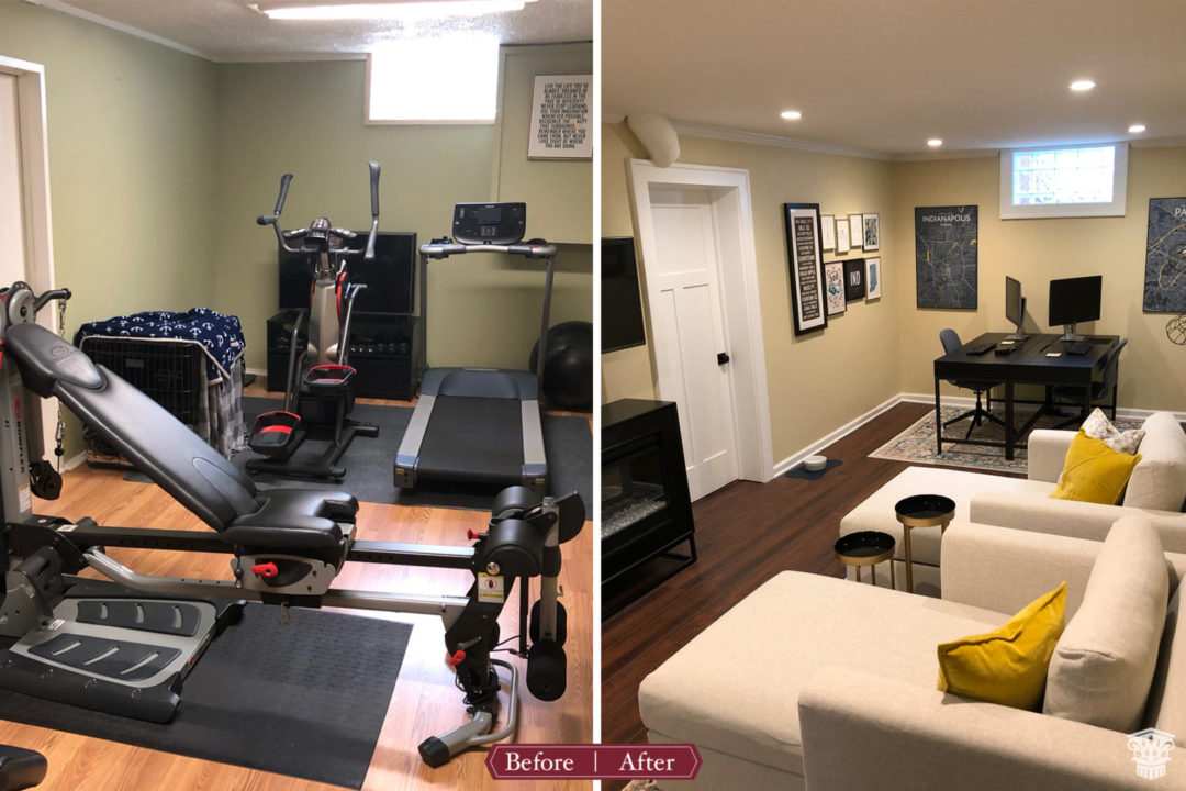 basement renovation, basement remodel, covid office ideas, basement storage ideas,exercise room, basement exercise space