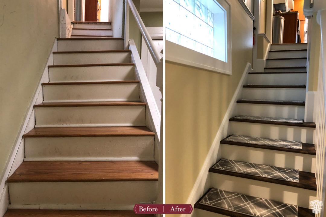 basement renovation, basement remodel, stairs