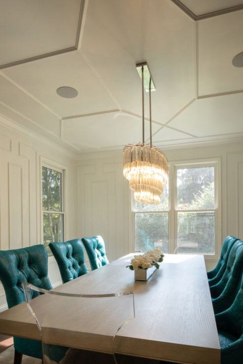 open concept entertaining, open floorplan, open kitchen and dining, wall trim details, wall moulding, applied mouldings, decorative trim work, ceiling detail