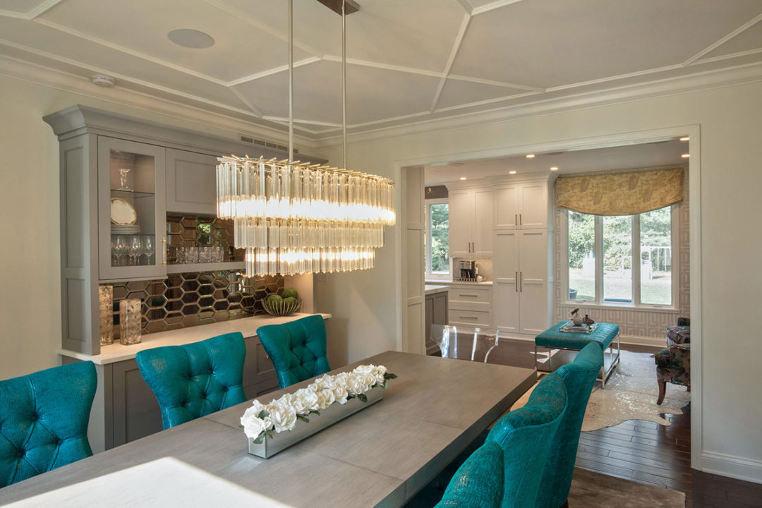 open concept entertaining, open floorplan, open kitchen and dining, wall trim details, wall moulding, applied mouldings, decorative trim work, ceiling detail, custom buffet cabinet