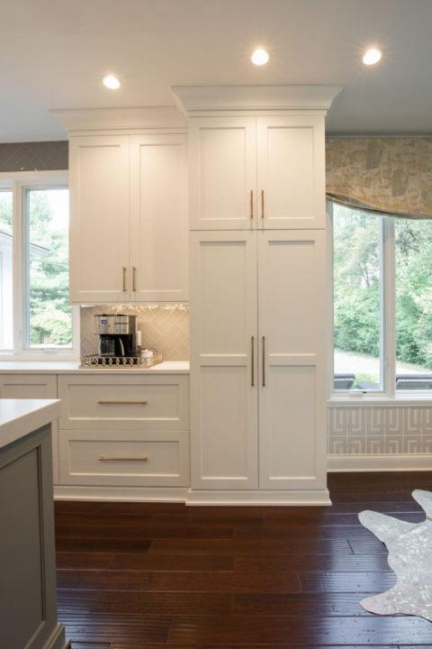 open concept entertaining, open floorplan, open kitchen and dining, custom white maple cabinetry, satin brass cabinet hardware, white quartz countertop, mitered edge