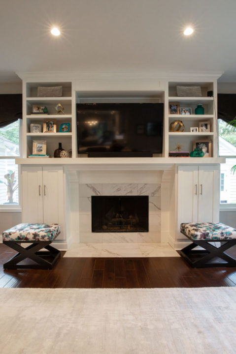 open concept entertaining, open floorplan, open kitchen and dining, custom white maple cabinetry, satin brass cabinet hardware, tile surround