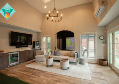 Sophisticated Golf Simulator and Entertaining Spaces