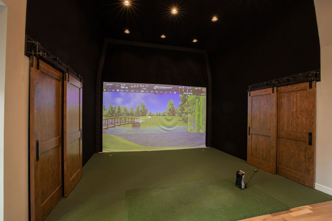 entertainers space, golf simulator, shaker slab doors