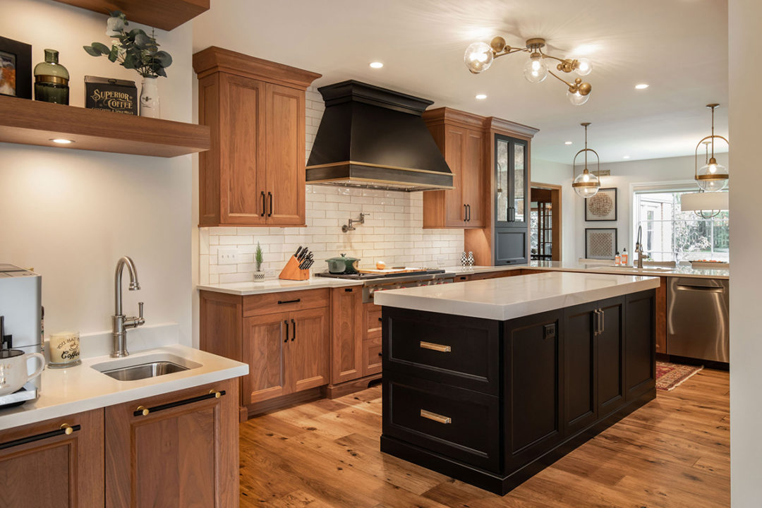 kitchen trends, open concept kitchen, black and walnut kitchen, mixing stained and painted woods, kitchen of stained and painted wood, medium wood hardwoods, large sophisticated kitchen, entertainers space, transitional living spaces, transitional kitchen, island with storage, coffee station