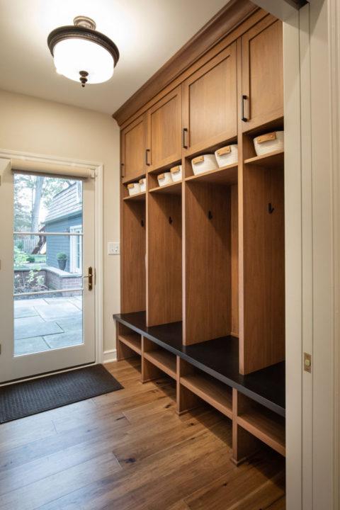 entertainers space, transitional living spaces, mudroom, lockers, medium wood hardwoods