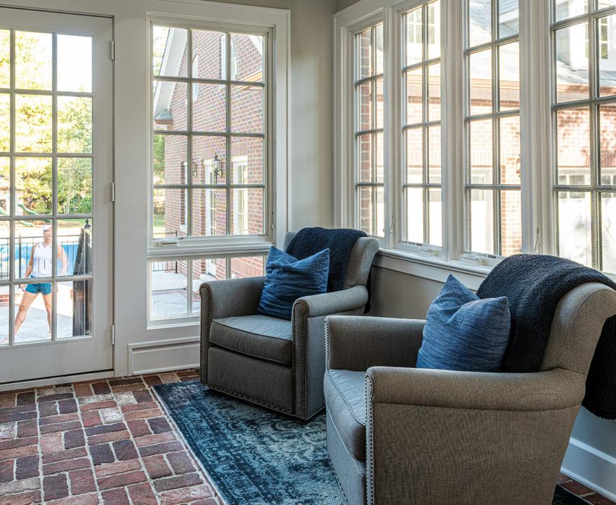 sunroom, heated paver floor, back entry