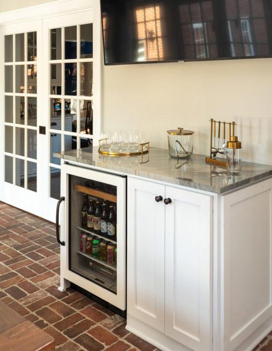 sunroom, beverage station, heated paver floor, back entry, pocket French doors, beverage station