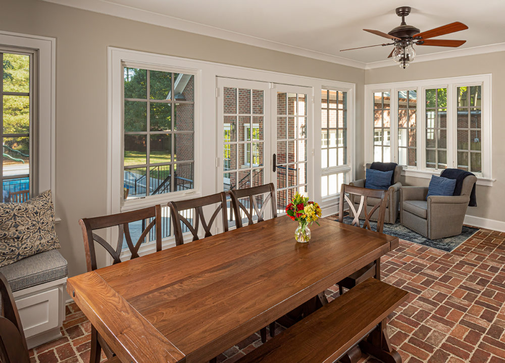 sunroom, heated paver floor, back entry, seating area