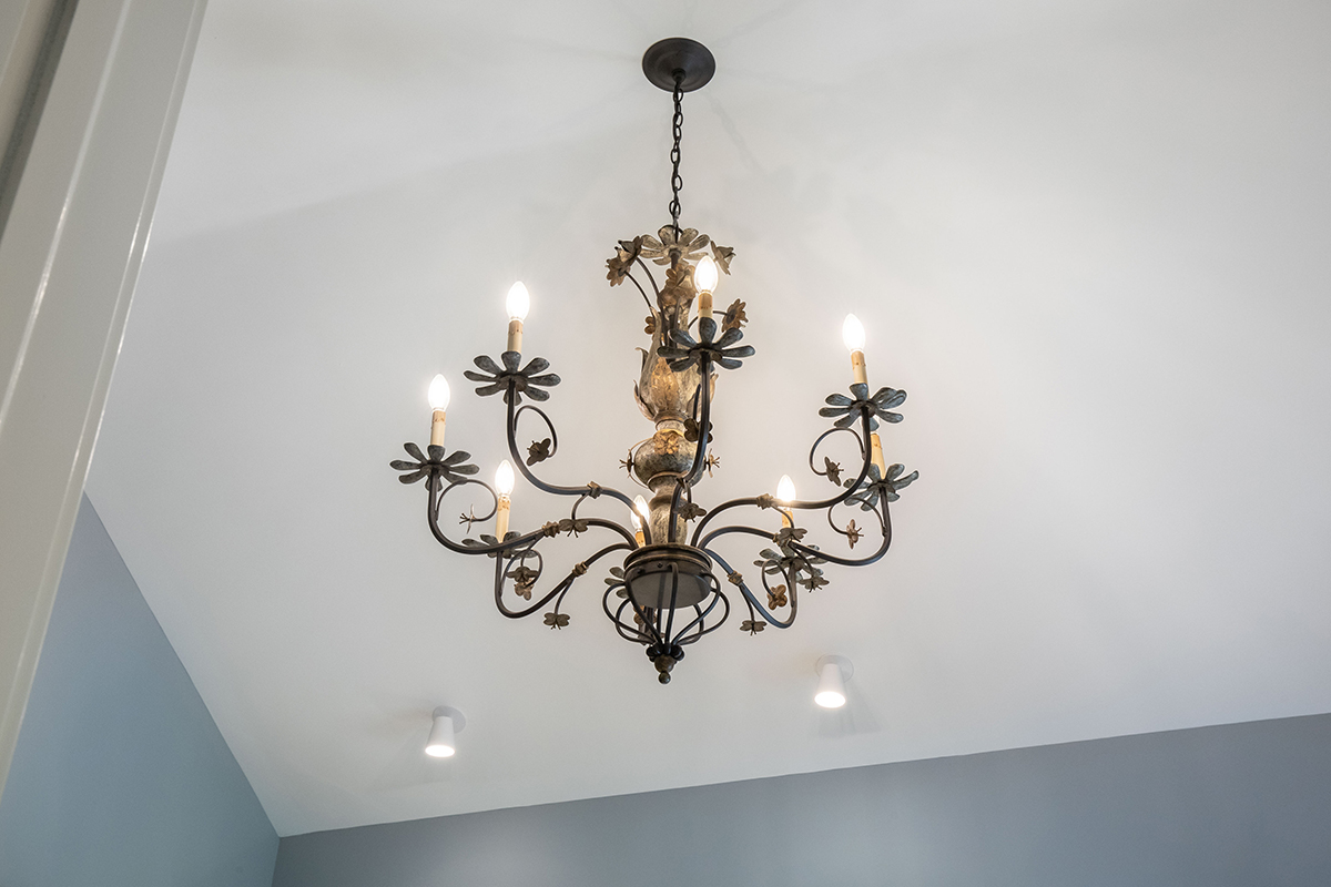 master suite, chandelier, bathroom lighting, rustic metal with gold and silverleaf finish