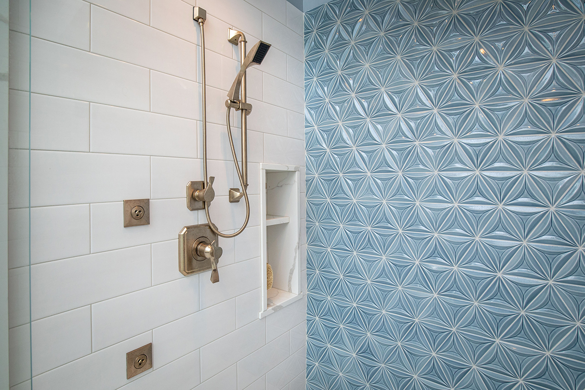 master suite, frameless shower, Virage Shower head, rain head, square rain shower, rain shower, handheld shower head, staggered shower tile, white tile with light pewter grout, low shelf in shower, shaving shelf, shaving niche, inset shelf in shower, mosaic tile, tile feature wall, blue tile