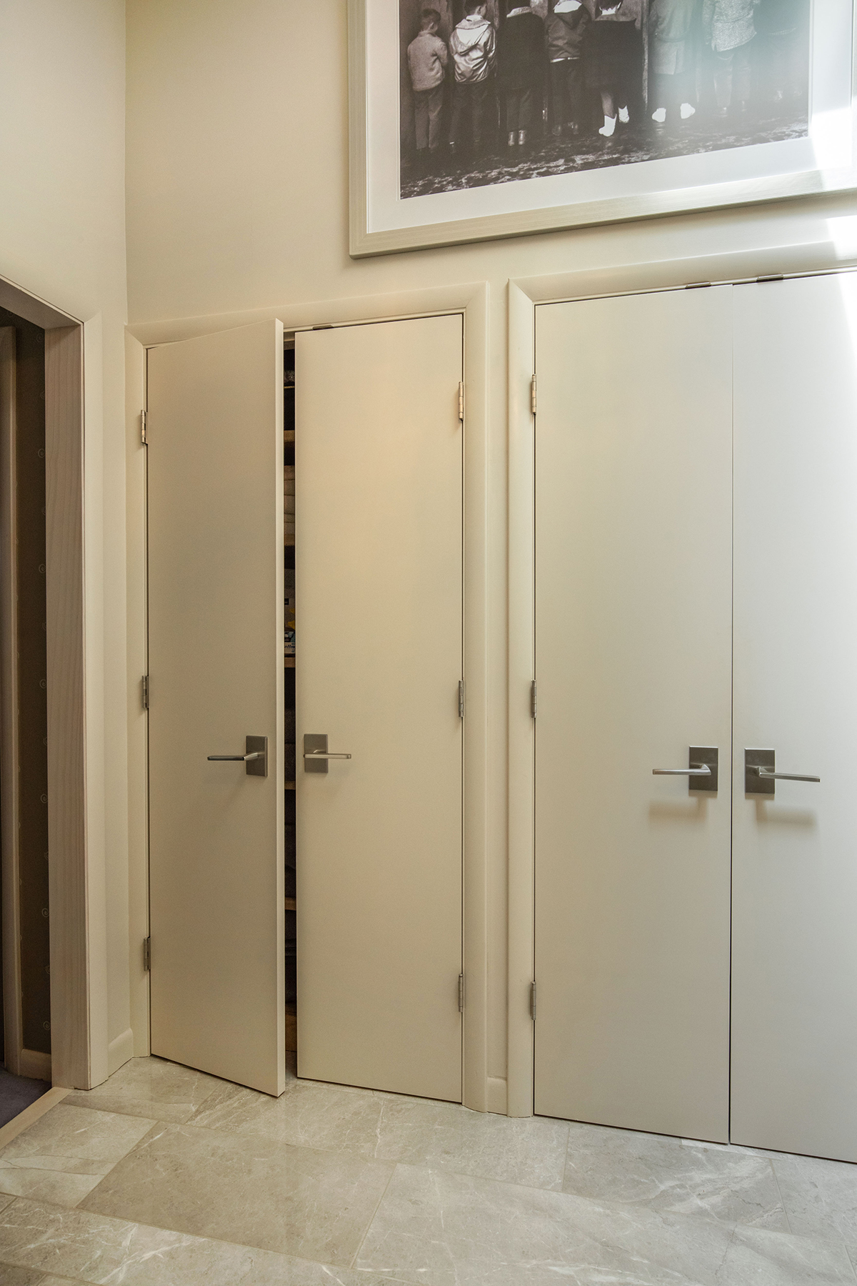 Angled foot shelf for shaving, window in shower, window in stool room, vaulted ceiling in bathroom, skylights in bathroom, Contemporary bathroom, master bathroom ideas, heated towel rack, curved towel rack, recessed cabinets, storage cabinets, extra storage in bathroom, contemporary vent, Radiant floor heating