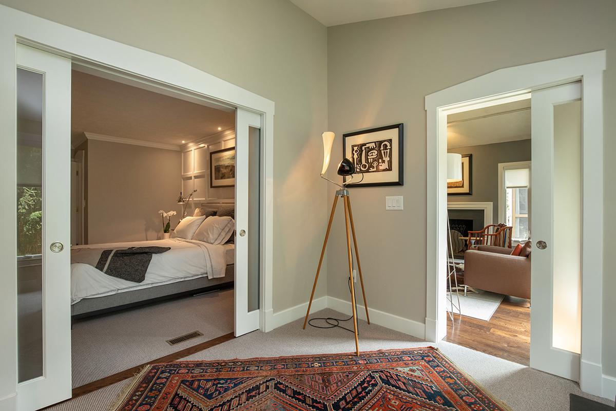 bedroom, frosted glass pocket doors, office to bedroom