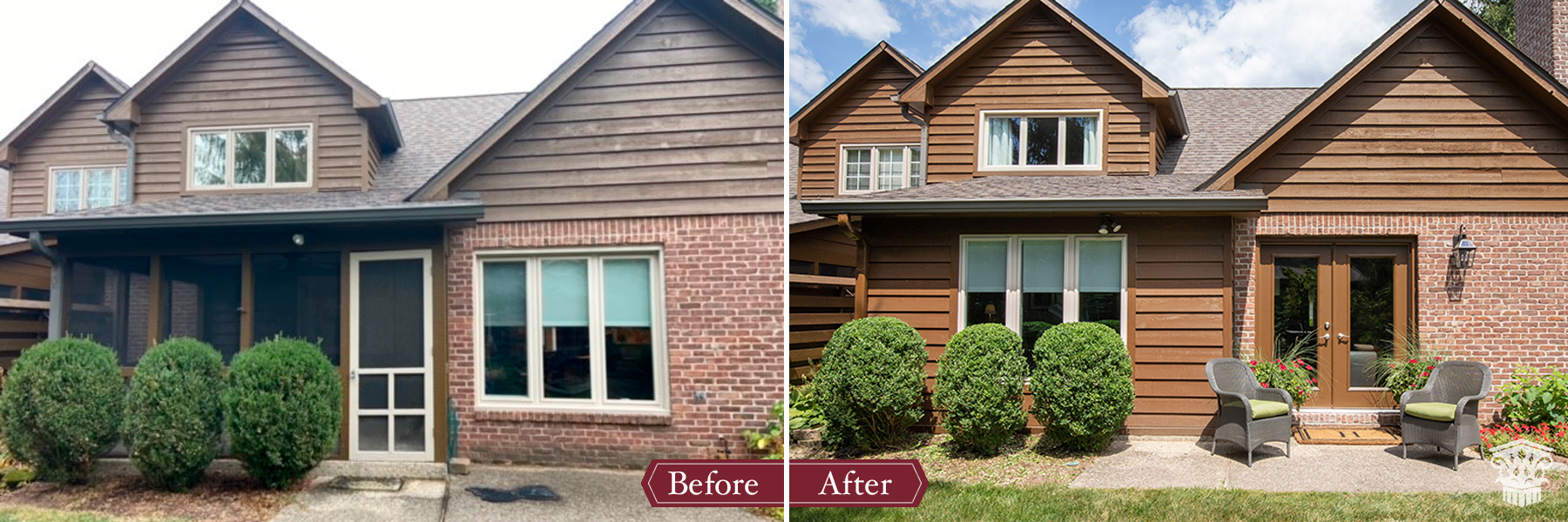 exterior porch to office before and after