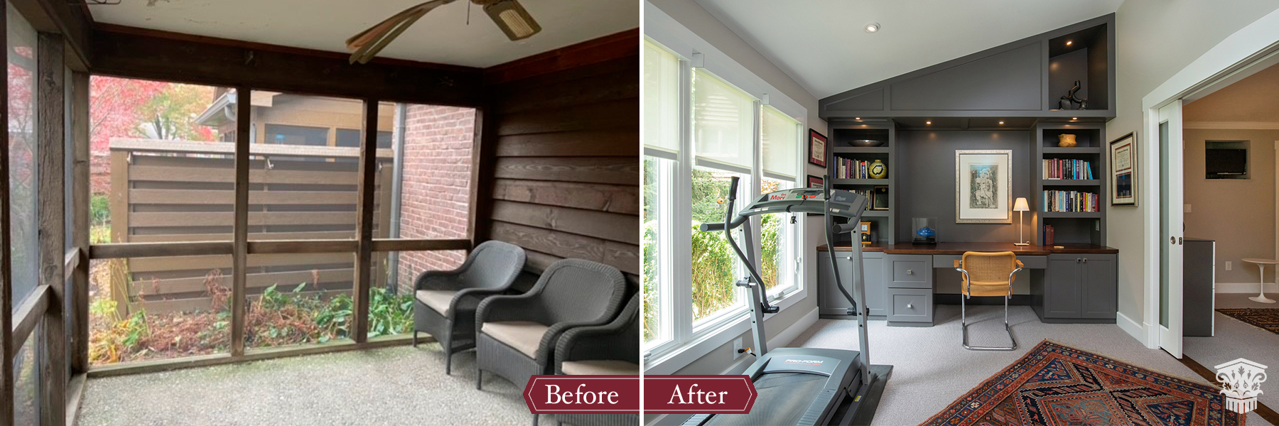 porch to home office before and after