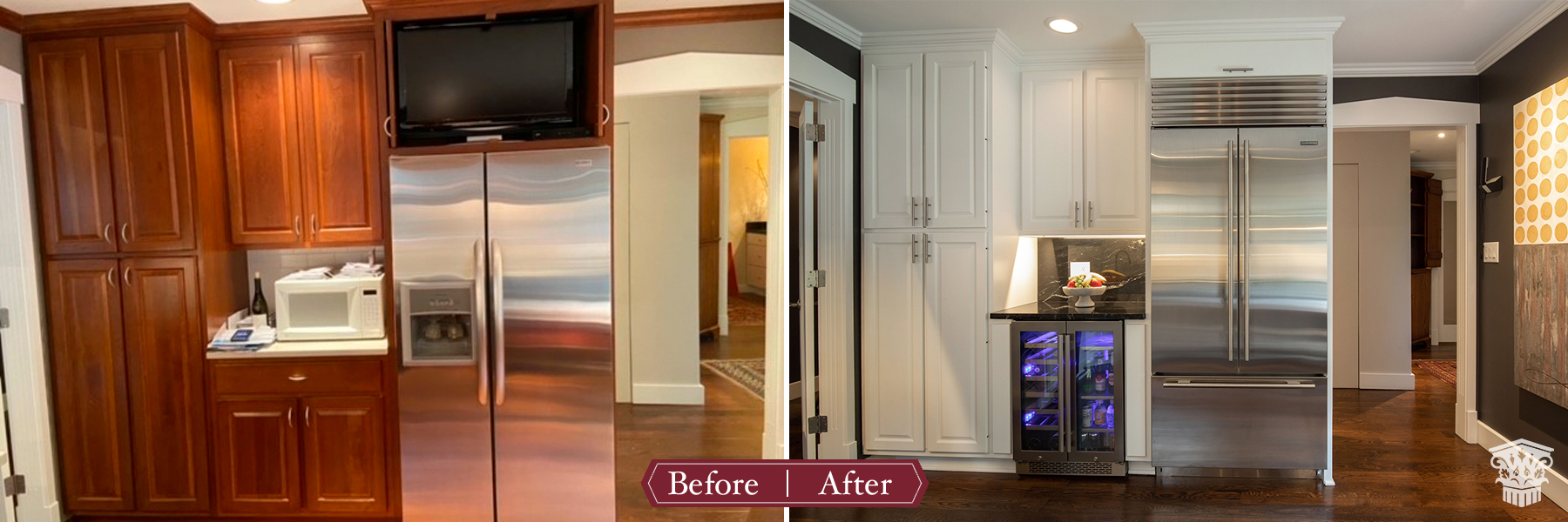 Traditional to Luxe Kitchen Before and After Fridge area