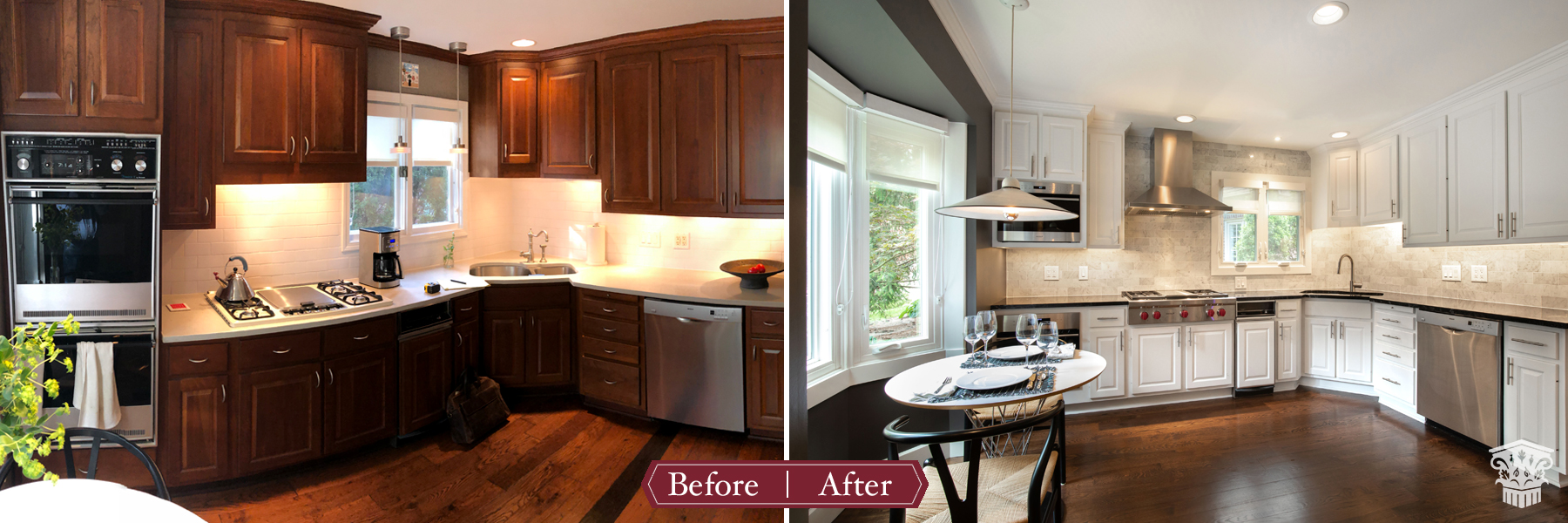 Traditional to Luxe Kitchen Before and After Eat in Nook Area