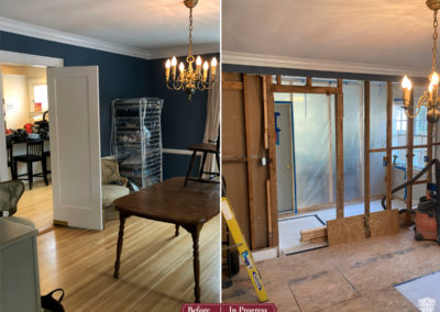 In Progress: Open Dining Room with Improved Bar and Storage